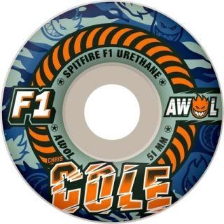 Awols Cole Camo White 51mm 99A Classic Blue Skateboard Wheels