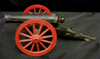 Repro Cast Iron Black Firing Weapon Cannon Replica Red Wheels