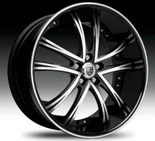 55 Staggered Wheel Set Black Machined Black Lip 22x11 22x9 Rims