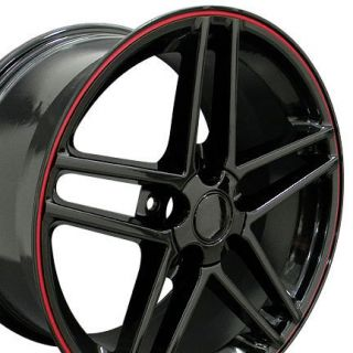 17 18 9 5 10 5 Black C6 Z06 Wheels Rims Fit Camaro Corvette