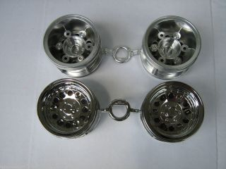 New Tamiya Bruiser Toyota re Release Chrome Rim 4 Wheel Set