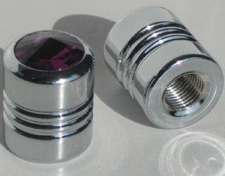 Purple Swarovski Crystal Gem Valve Caps Motorcycle Car Rims