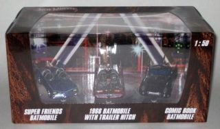 Hot Wheels Batman 3 Pack Super Friends 66 Chrome Comic Book Batmobile