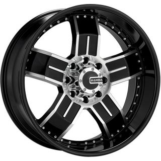 22 Mamba M8 Black Mach Wheels Dodge RAM 1500 4 Rims