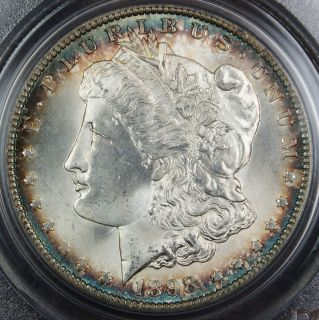1898 O Morgan Silver Dollar Coin PCGS MS 65 Toned Rim