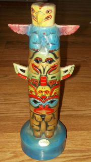 Ezra Brooks Totem Pole Liquor Decanter Chip Off Inside Rim