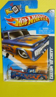 2012 Hot Wheels Heat Fleet 12 154 Custom 62 Chevy Pickup Blue