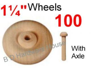 100 1¼ Wood Wheels w Axle Toy Parts Wooden Wheel