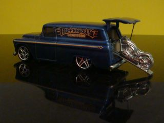 Hot Wheels CHOPPERS 55 Chevy Panel Delivey w Cycle 1 64 Scale Ltd Edit