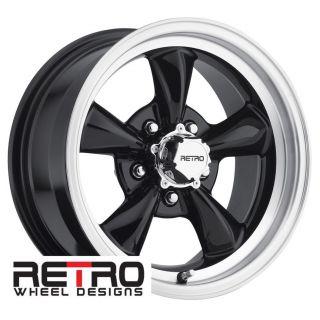 15x7 Retro Black Wheels Rims 5x4 75 Lug Pattern for Chevy Camaro 67