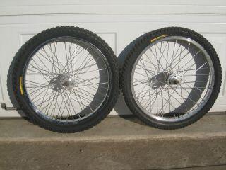 Set Used Araya 7x 20x1 75 Chrome BMX Rims Redline Hubs Tires