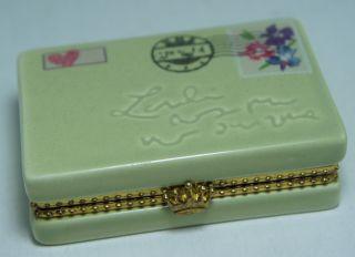 Porcelain Ceramic Trinket Box Mail Post Card Design Gold Rims