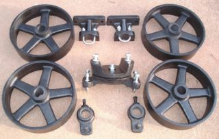 HIT & MISS GAS ENGINE CAST IRON CART TRUCK PARTS SET FIVE SPOKE WHEELS