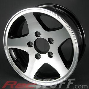 14x5 5 4 5 5 Bolt Aluminum 5 Star Trailer Wheel Blk