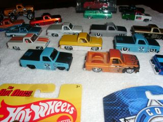 MIX OF 33 HOT WHEELS, JADA, MAISTO CHEVY TRUCKS, 83 SILVERADO, 87 1500