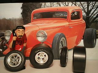 25 Model Car Tires Goodyear Drag Slicks Spindle Front Wheels