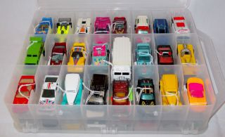 Lot of 48 Vintage Hot Wheels Vehicles Black Wall Case Full 1970s 80s
