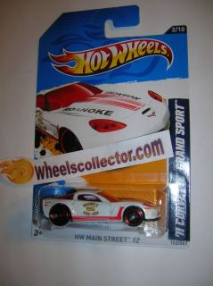 Corvette Grand Sport WHITE * 2012 Hot Wheels * K Case Main Street 2/10