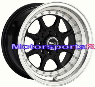 15 15x8 XXR 002 Black Rims Deep Dish Step Lip Wheels 87 Toyota Corolla