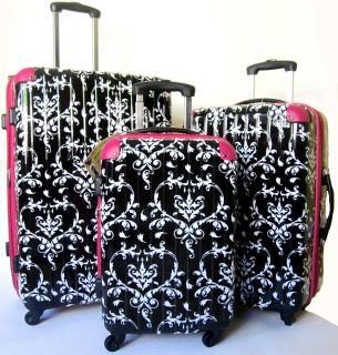 3Pc Luggage Set Hard Rolling 4 Wheels Spinner CarryOn Travel Floral
