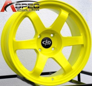 17x9 5 Rota Grid Wheels 4x114 3 Rims 12mm High Light Yellow