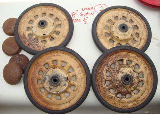 ALL ORGINAL GARTON PEDAL CAR WHEELS 8 DIAMETER WITH MATCHING HUBCAPS