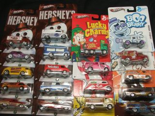 All 10 Hot Wheels Hersheys Nostalgia Cars + All 9 General Mills