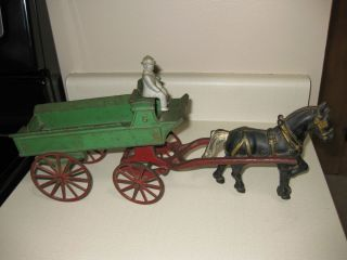 Cast Iron Horse Buggy Rider Wheels Still Move Toy Carriage