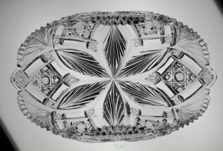 Great abp Cut Glass Crystal Rolled Rim Bread Dish