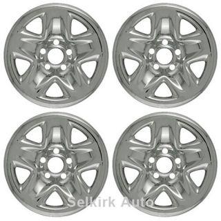 New Set Chrome Wheel Skins Hub Cap Cover w Center for 15x6 inch 5 Lug