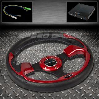 Universal NRG PVC Leather Aluminum 32cm Racing Steering Wheel Black