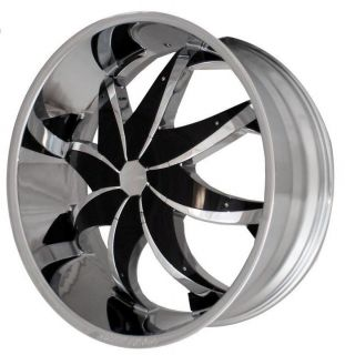 22 Rocknstarr 608 Chrome Wheels Rims Tires Pkg Black Inserts 5x120