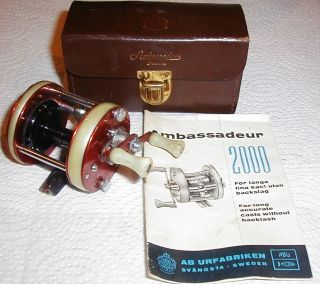 Scarce Abu Ambassadeur 2000 Fishing Reel EX with Leather Case