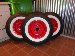 of Coker Classics wide white wall bias ply tires with restored wheels
