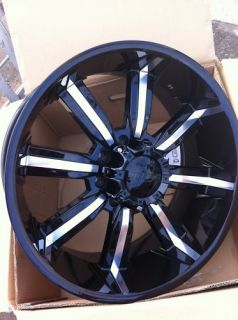 24 Black Wheel Tire Pkg 8x165 Hummer 8 Lug Chevy