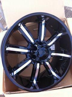 24 Black Wheel Tire Pkg 8x165 Hummer 8 Lug Chevy