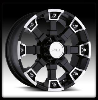 TEC BRUTAL BLACK MACH 17 INCH 6X5.5 6X139.7 WHEELS 6LUG 17X8 RIMS +10