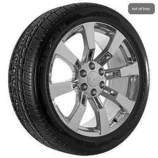 Truck Yukon Denali Sierra Chrome Wheels Rims and Tires Package