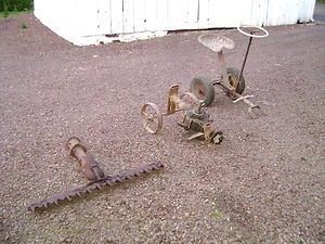 Vintage Gravely 2 Wheel Farm Tractor Attachments Sulkey Sickle Bar