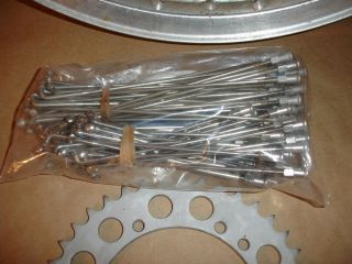 akront 21 and 18 rims with stainless steel spokes from a 1970 ossa 250
