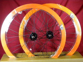 New Origin 8 Track Fixed Gear Wheelset Orange Fixie SS