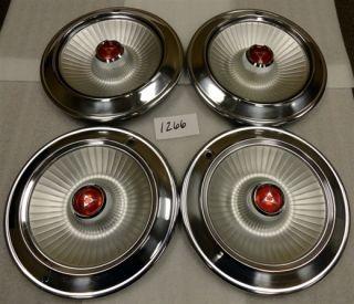1965 65 Dodge Passenger EXC Coronet 14 Hubcaps Hub Caps w O Spinner L