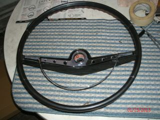 1963 Chevy Impala Black Steering Wheel and Horn Center with Contacts