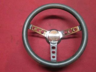 Vintage GM 13 5 Custom Chrome Steering Wheel Soft Grip 55 57 Chevy