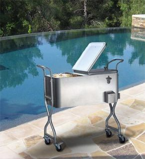 New black 80 quart party cooler rolling patio ice chest 2 for Motor cooler on wheels
