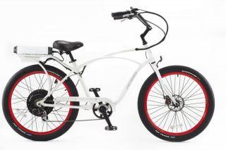 Cruiser Bicycle Bike White Frame Red Rims Black Balloon Tires