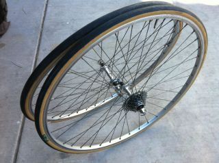 Record Wheelset Super Champion Rims 700c w 7 Speed Vintage Campy 1034