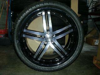 Vossen 22x9 40 Offset Rims 5x120 Black Machine 285 35 22 Atturo AZ800