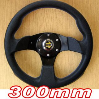 Sports Steering Wheel 300mm Black 3 Spoke 30cm Racing Track Go Cart