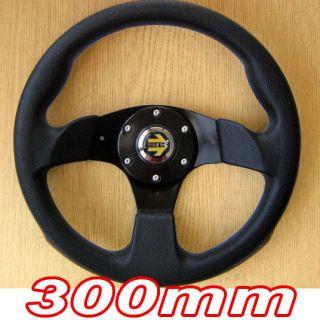 Sports Steering Wheel 300mm Black 3 Spoke 30cm Racing Track Go Cart